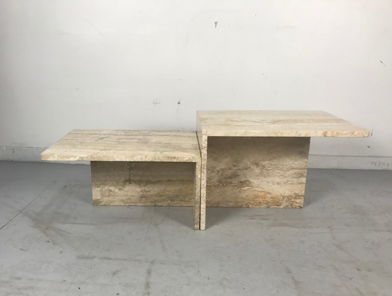 Stunning Pair of Architectural Italian Modernist Travertine Tables 2