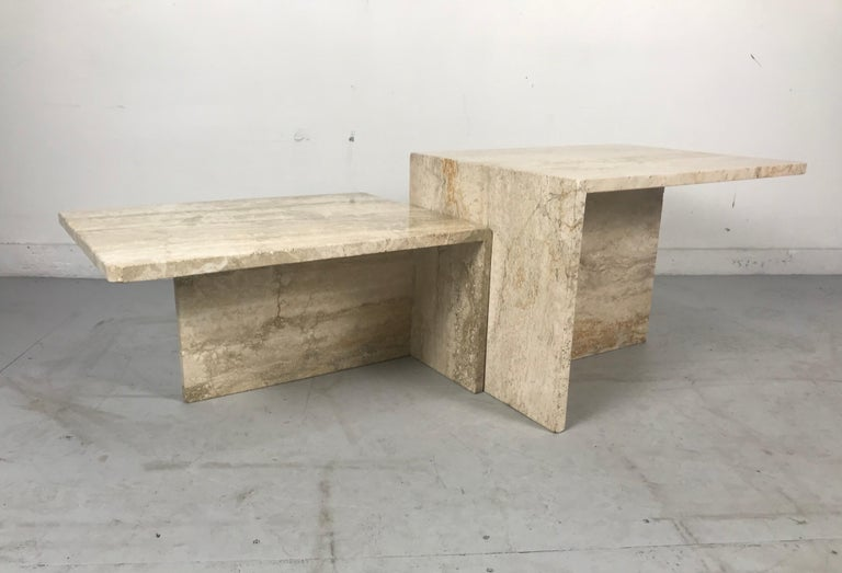 Stunning Pair of Architectural Italian Modernist Travertine Tables 3