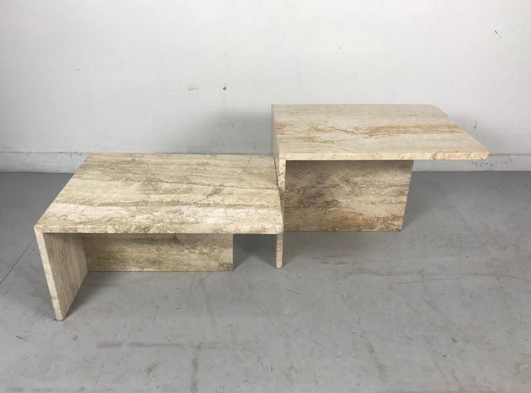 Stunning Pair of Architectural Italian Modernist Travertine Tables 4
