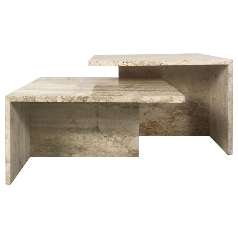 Stunning Pair of Architectural Italian Modernist Travertine Tables