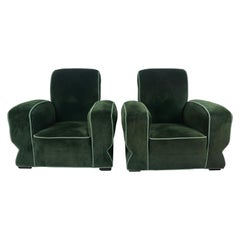 Stunning Pair of Art Deco Club, Lounge Chairs, Streamline Modernist Design 1930s