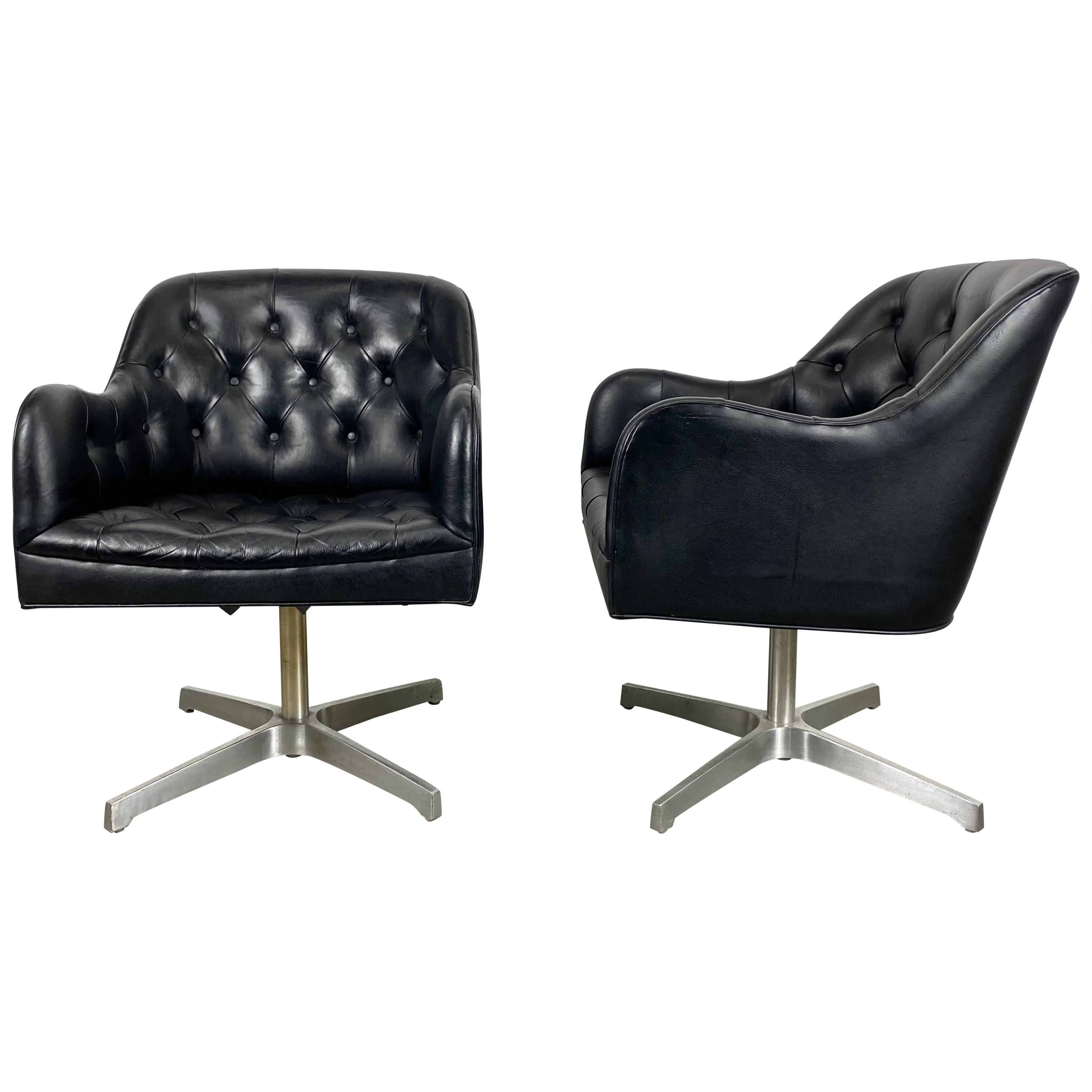 Stunning Black Button Tufted Leather Swivel Chairs, Jens Risom for Marble, Pair