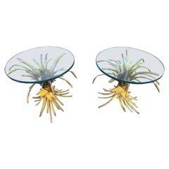Stunning Pair Coco Chanel Style Gilt Wheat Side End Table Hollywood Regency