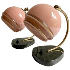 Stunning Pair French Art Deco Table Lamp, Marble Pink Opaline Glass Shade, 1930s