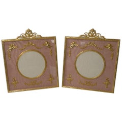 Stunning Pair of French Gilded Bronze Picture Frames, Cherubs
