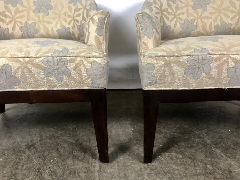 Pair of Lounge Chairs, Original Modernist Fabric  For Sale 4