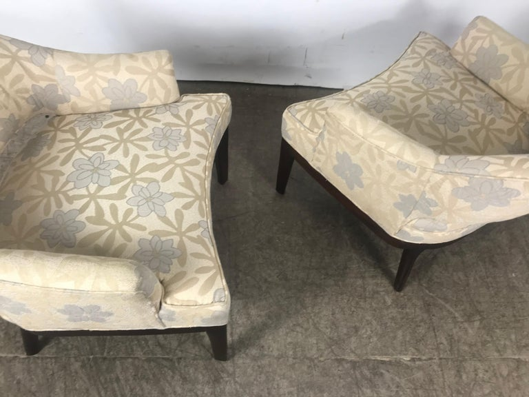 Mid-20th Century Pair of Lounge Chairs, Original Modernist Fabric  For Sale