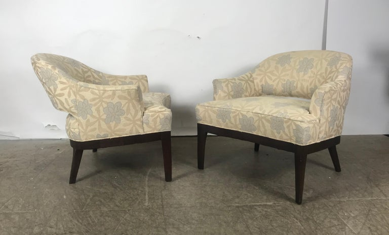 Pair of Lounge Chairs, Original Modernist Fabric  For Sale 1
