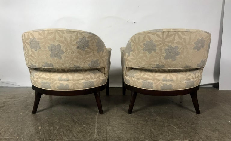Pair of Lounge Chairs, Original Modernist Fabric  For Sale 2