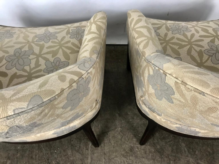 Pair of Lounge Chairs, Original Modernist Fabric  For Sale 3