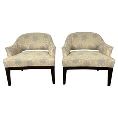 Stunning Pair of Harvey Probber Lounge Chairs, Original Modernist Floral Fabric