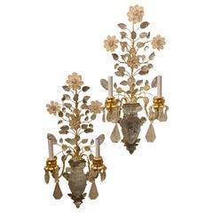 Stunning Pair of Large Gilt Metal Rock Crystal Flower Urn Two-Arm Baguès Sconces