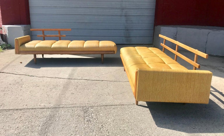 modernist button tufted daybed attributed to Adrian Pearsall, nice quality, retains original mustard color vinyl fabric in fine useable condition but would be amazing reupholstered, warm walnut wood finish in great original condition, wonderful
