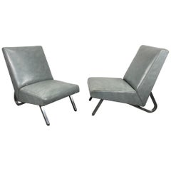 Stunning Pair of Modernist Deco Slipper Lounge Chairs Royal Metal Mfg. Co. 1940s