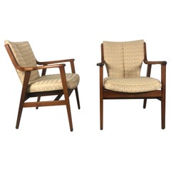 Stunning Pair of Modernist Lounge Chairs by Gunlocke, Manner of Finn Juhl