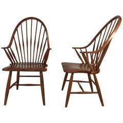 Pair of Modernist Tall Spindle Back Windsor Chairs