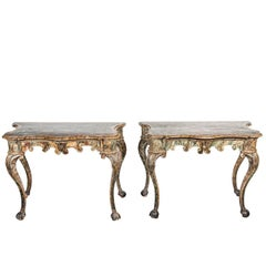 Stunning Pair of 18th Century, Painted, Venetian Consoles