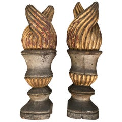 Stunning Pair of 18th Century Spanish Flambeaux Finials