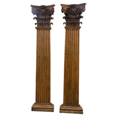 Stunning Pair of 19th Century Hand Carved Neoclassical Oak Pilasters
