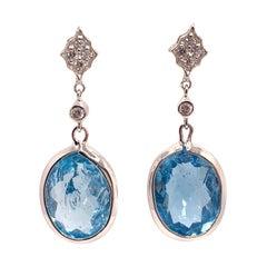 Stunning pair of 37ct Genuine Blue Topaz Drop  Earrings