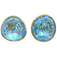 Stunning pair of 63ct Genuine Blue Topaz Button Clip on Vermeil Earrings
