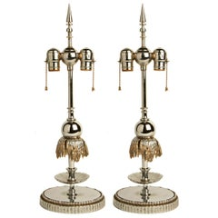 Stunning Pair of American Art Deco Chrome and Nickel Fountain Lamp Bases