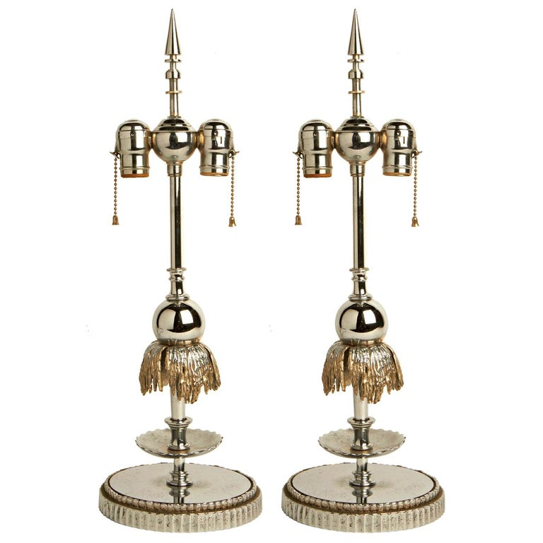 Stunning Pair of American Art Deco Chrome and Nickel Fountain Lamp Bases For Sale