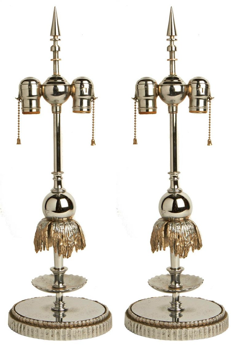 Stunning Pair of American Art Deco Chrome and Nickel Fountain Lamp Bases For Sale 1
