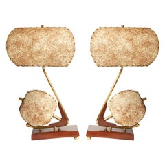 Stunning Pair of American Book-Matched, Twin-Shaded Console Lamps by Majestic