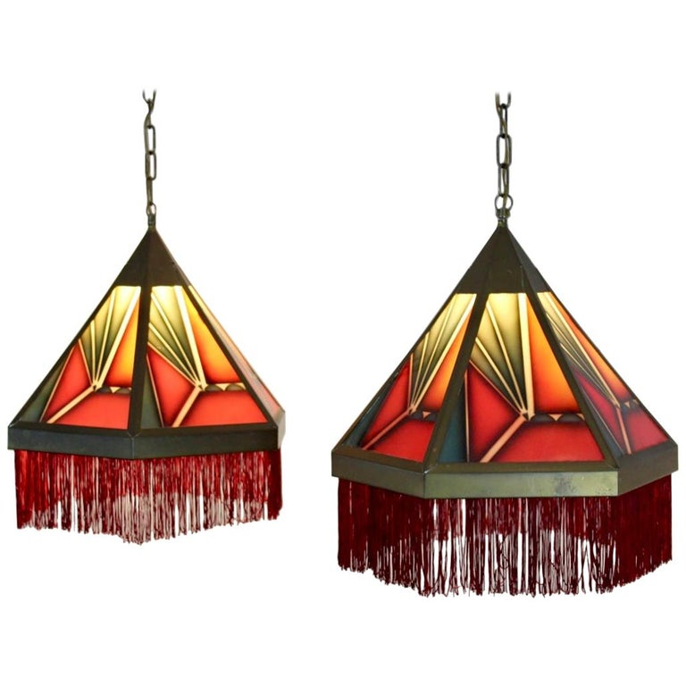 Pair Of Simple Church Lights For Sale: Stunning Pair Of Amsterdamse School Stained Glass Art Deco