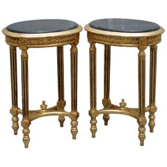 Stunning Pair of Antique French Gold Giltwood & Marble Jardiniere Display Stands