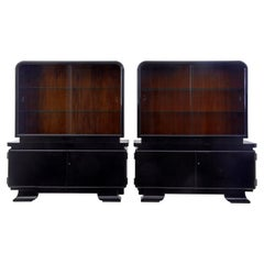 Stunning pair of Art Deco black lacquered cabinets