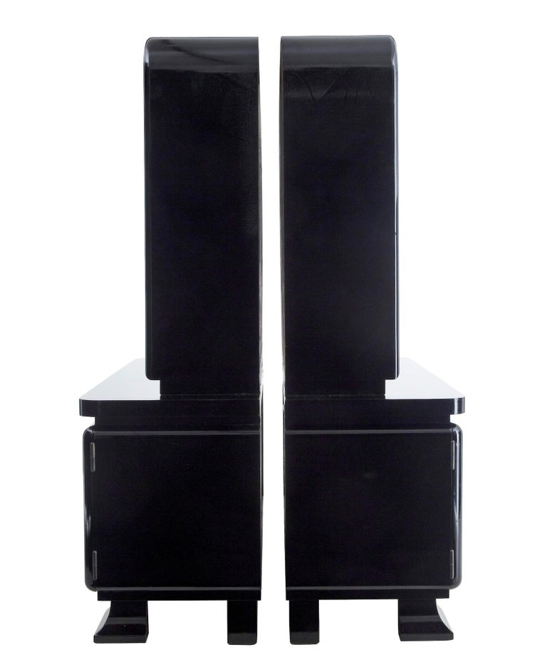 Swedish Stunning Pair of Art Deco Black Lacquered Sideboard Vitrines For Sale
