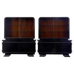 Stunning Pair of Art Deco Black Lacquered Sideboard Vitrines
