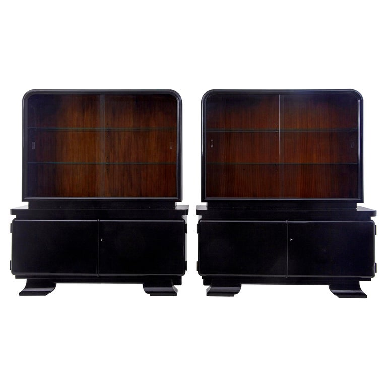 Stunning Pair of Art Deco Black Lacquered Sideboard Vitrines For Sale
