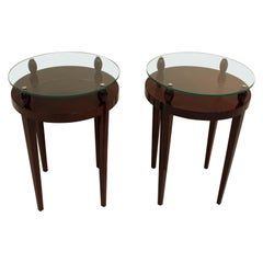 Stunning Pair of Art Deco Glass-Top End Tables in Walnut