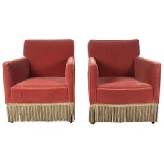 Stunning Pair of Art Deco Salmon Color Mohair Club Chairs, Modernist Design