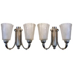 """Stunning Pair of Art Deco Wall Sconces Signed """"Muller Freres Luneville"""""""