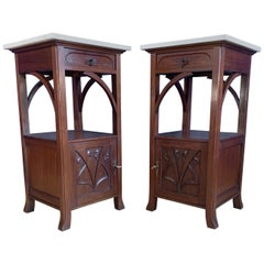 Stunning Pair of Art Nouveau Mahogany Nightstands / Bedside Cabinets Marble Tops