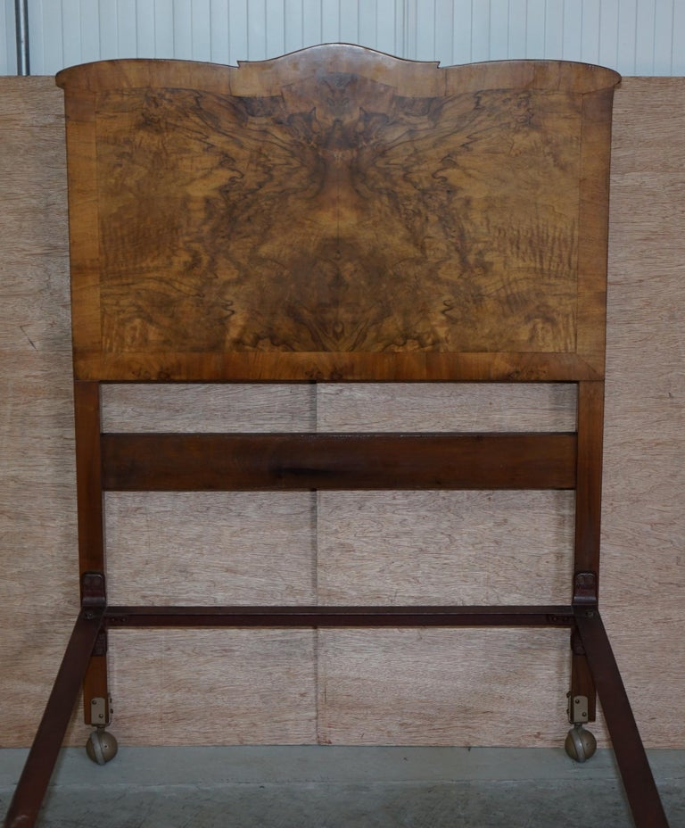 Stunning Pair of Burr & Burl Walnut circa 1940's Single Beds with Silk Bases For Sale 4