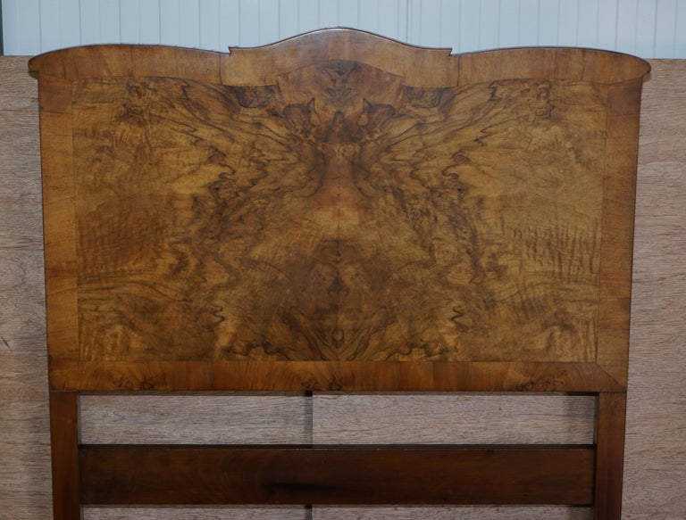 Stunning Pair of Burr & Burl Walnut circa 1940's Single Beds with Silk Bases For Sale 5