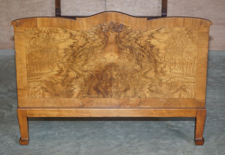 Stunning Pair of Burr & Burl Walnut circa 1940's Single Beds with Silk Bases For Sale 9