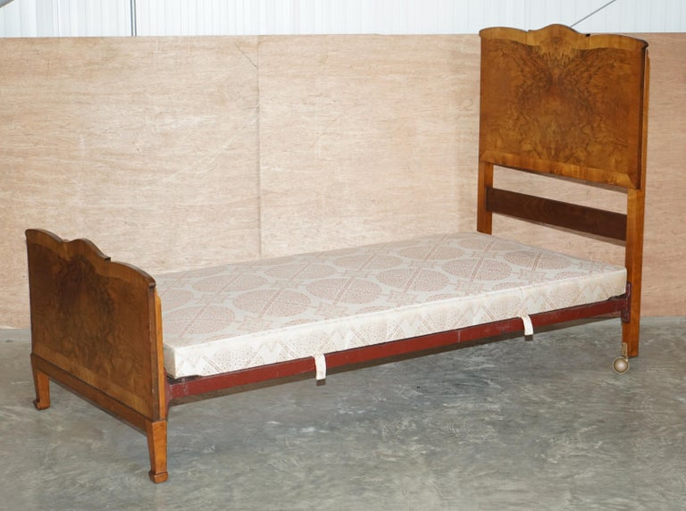We are delighted to offer for sale this stunning pair of circa 1940's Burr walnut single beds with silk stitched divan bases   A lovely pair of original hand made in England Walnut beds. These are the most complete set I have ever seen and come