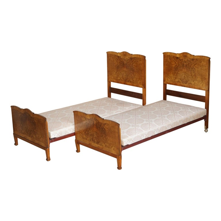Stunning Pair of Burr & Burl Walnut circa 1940's Single Beds with Silk Bases For Sale