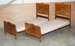STUNNING PAIR OF BURR & BURL WALNUT CIRCA 1940'S SINGLE BEDS WiTH SILK BASES