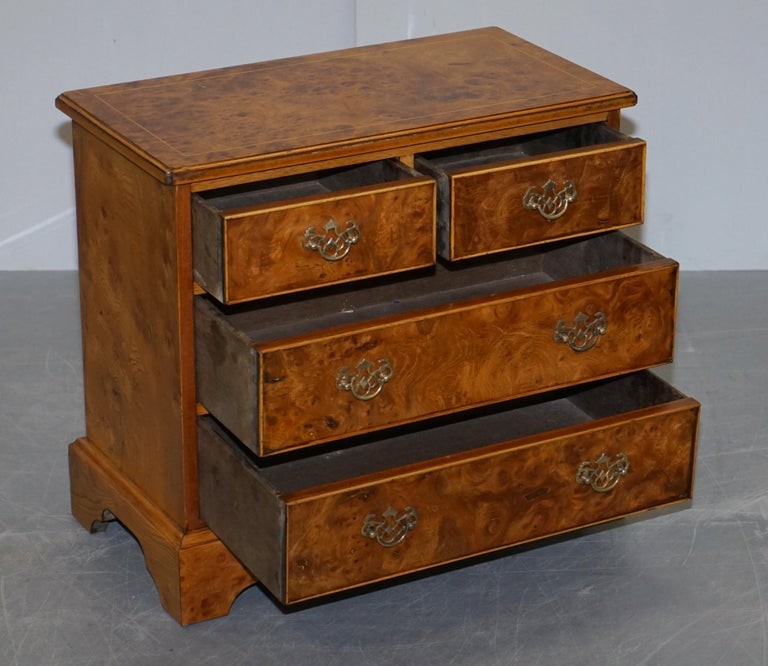 Stunning Pair of Burr & Burl Walnut & Elm Bedside, Side Table Chest of Drawers For Sale 3