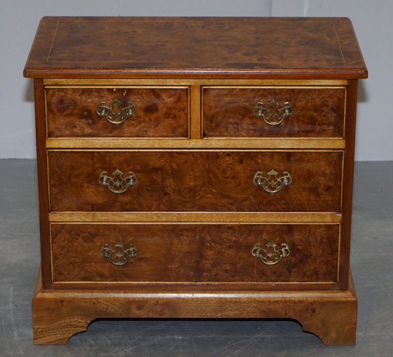 Stunning Pair of Burr & Burl Walnut & Elm Bedside, Side Table Chest of Drawers For Sale 5
