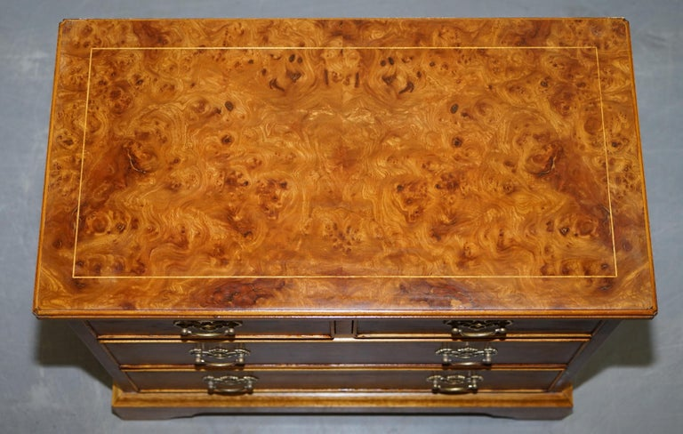 Stunning Pair of Burr & Burl Walnut & Elm Bedside, Side Table Chest of Drawers For Sale 6