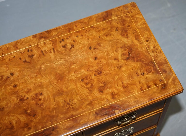 Stunning Pair of Burr & Burl Walnut & Elm Bedside, Side Table Chest of Drawers For Sale 8