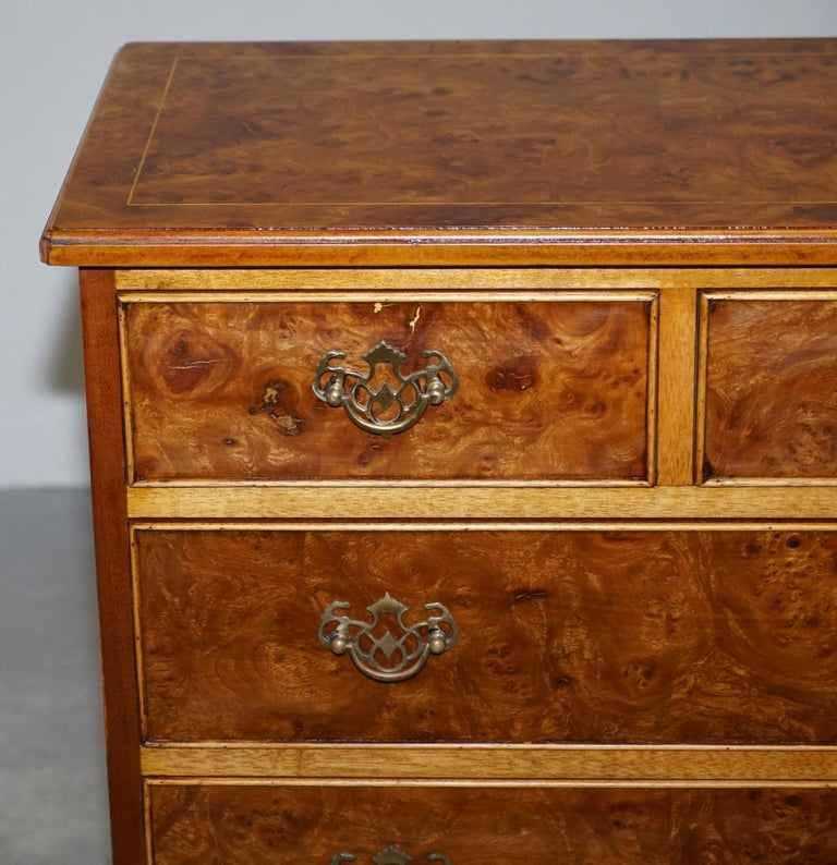 Stunning Pair of Burr & Burl Walnut & Elm Bedside, Side Table Chest of Drawers For Sale 9